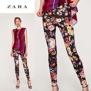 Zara high waisted floral print leggings, NWOT